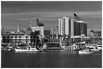 View of Oakland harbor and Jack London Square. Oakland, California, USA ( black and white)