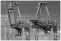 Container cranes, Port of Oakland. Oakland, California, USA (black and white)