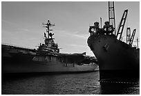USS Hornet aircraft carrier. Alameda, California, USA (black and white)
