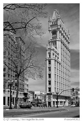 Historic flatiron building called Cathedral Building. Oakland, California, USA (black and white)
