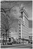 Historic flatiron building called Cathedral Building. Oakland, California, USA ( black and white)