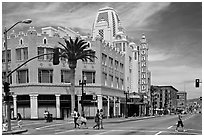 Downtown street with Oakland Fox Theater. Oakland, California, USA ( black and white)