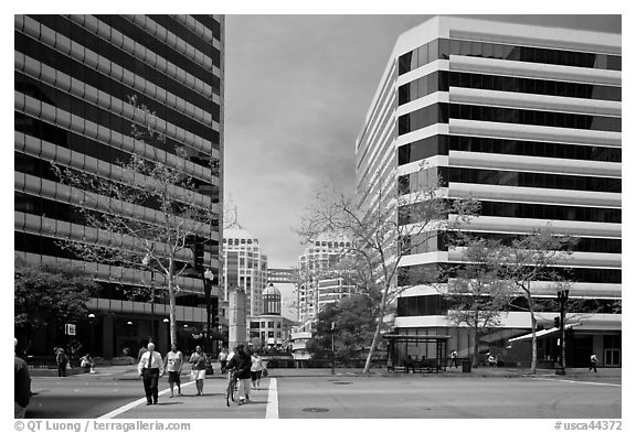 Downtown Oakland. Oakland, California, USA (black and white)
