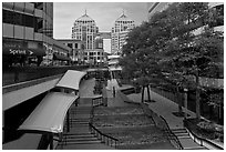 City center shopping mall, downtown. Oakland, California, USA ( black and white)