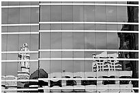 Reflections in glass buiding. Oakland, California, USA ( black and white)