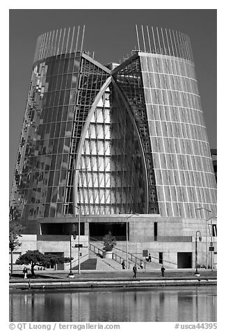 Cathedral of Christ the Light on Lake Merritt shores. Oakland, California, USA (black and white)