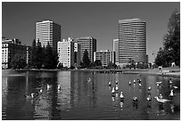 Lake Merritt, first US wildlife refuge, designated in 1870. Oakland, California, USA ( black and white)
