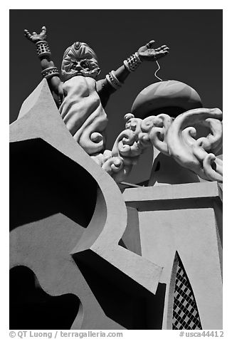 Multicolored architectural details, Fairyland. Oakland, California, USA (black and white)