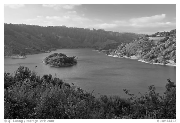Lake Chabot reservoir, late afternoon. Oakland, California, USA (black and white)