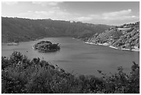 Lake Chabot reservoir, late afternoon. Oakland, California, USA ( black and white)