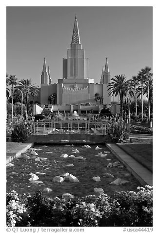 Oakland Mormon temple and grounds. Oakland, California, USA (black and white)