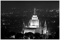 Church of Jesus Christ of LDS by night. Oakland, California, USA (black and white)