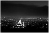 Oakland temple above the Bay by night. Oakland, California, USA (black and white)