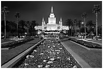Oakland Mormon temple and grounds by night. Oakland, California, USA (black and white)
