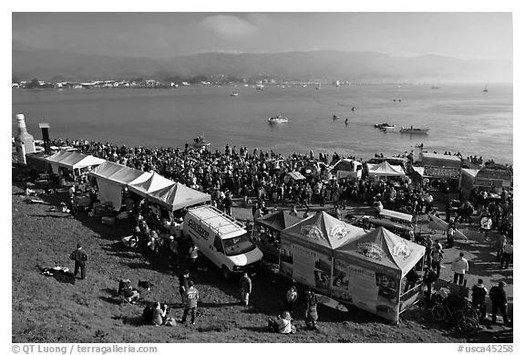 Pilar point during maverics surfing contest. Half Moon Bay, California, USA (black and white)