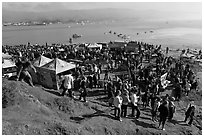 Crowds gather for mavericks competition. Half Moon Bay, California, USA ( black and white)