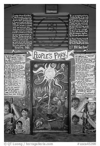 Peoples Park mural. Berkeley, California, USA (black and white)