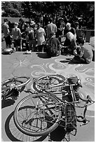 Bicycles and food line, Peoples Park. Berkeley, California, USA (black and white)