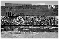 Political mural art. Berkeley, California, USA (black and white)