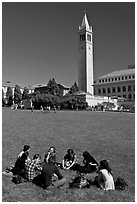 Students on lawn with Campanile in background. Berkeley, California, USA ( black and white)