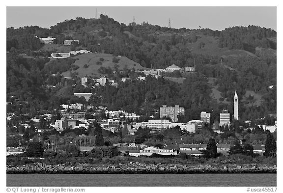 Berkeley hills seen from the Bay. Berkeley, California, USA (black and white)