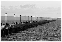 Berkeley Pier at sunset. Berkeley, California, USA (black and white)