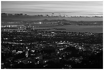 University and city at sunset. Berkeley, California, USA ( black and white)