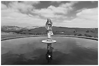 Reflecting pool and sculpture, Artesa Winery. Napa Valley, California, USA (black and white)