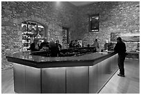 Wine tasting room, Hess Collection winery. Napa Valley, California, USA ( black and white)