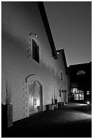 Winery at night, Hess Collection. Napa Valley, California, USA ( black and white)