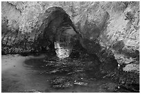 Sea arch, China Cove. Point Lobos State Preserve, California, USA (black and white)