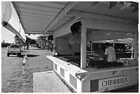 Fruit stand. California, USA (black and white)