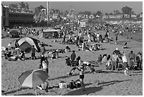 Beach scene in summer. Santa Cruz, California, USA ( black and white)