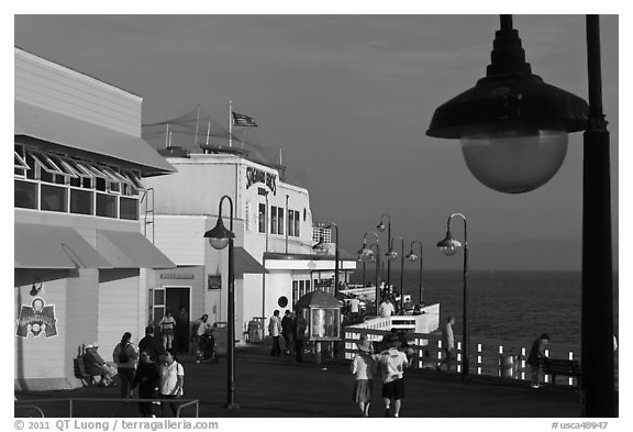 On the pier. Santa Cruz, California, USA (black and white)