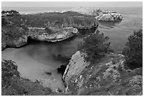 China Cove on cloudy day. Point Lobos State Preserve, California, USA (black and white)