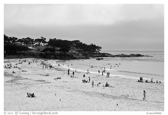 Carmel Beach with foggy skies. Carmel-by-the-Sea, California, USA (black and white)