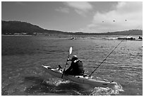 Sea kayaking into Carmel Bay. Carmel-by-the-Sea, California, USA ( black and white)