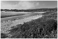Carmel River and beach. Carmel-by-the-Sea, California, USA ( black and white)