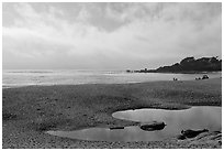 Beach and Carmel Bay, afternoon. Carmel-by-the-Sea, California, USA (black and white)