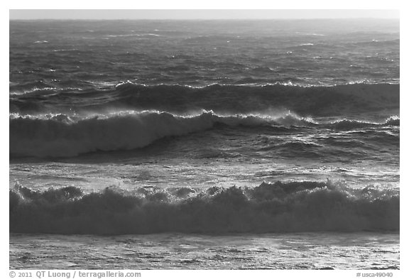 Storm surf at sunset. Carmel-by-the-Sea, California, USA (black and white)