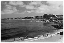 Lovers Point beach. Pacific Grove, California, USA ( black and white)