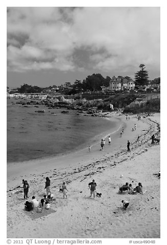 Beach, Lovers Point Park. Pacific Grove, California, USA (black and white)