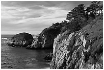 Bluff, China Cove. Point Lobos State Preserve, California, USA ( black and white)