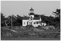 Point Pinos Lighthouse, late afternoon. Pacific Grove, California, USA ( black and white)