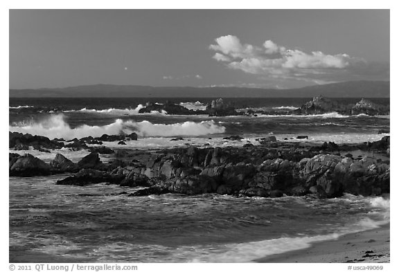 Surf and rocks at sunset, Monterey Bay. Pacific Grove, California, USA (black and white)