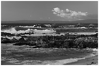 Surf and rocks at sunset, Monterey Bay. Pacific Grove, California, USA ( black and white)