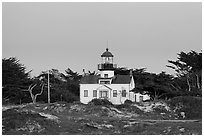 Point Pinos Lighthouse, oldest continuously-operating on the West Coast. Pacific Grove, California, USA ( black and white)