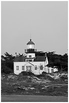 Point Pinos Lighthouse, dusk. Pacific Grove, California, USA ( black and white)