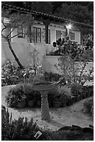 Heritage garden at night. Monterey, California, USA (black and white)