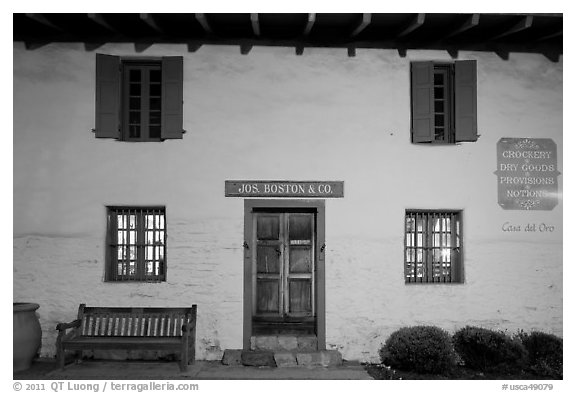 Casa del Oro facade at night. Monterey, California, USA (black and white)